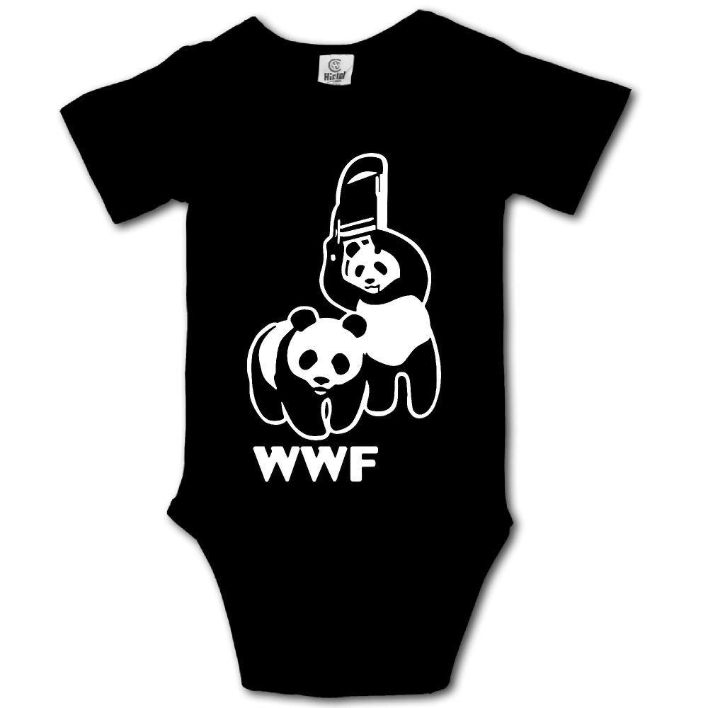 WWF Funny Panda Bear Wrestling Kawaii Infant Baby Girl Boys Short Sleeve Bodysuit Jumpsuit Outfits
