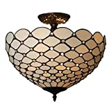 Amora Lighting AM086CL16 Tiffany-Style Jewel 2-Light Semi-Flush Ceiling Fixture - 16-Inch