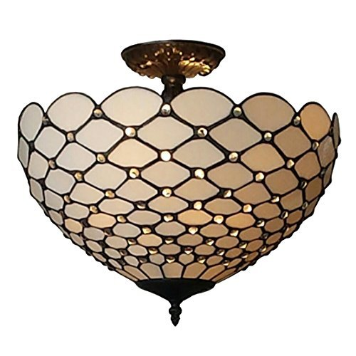 Amora Lighting AM086CL16 Tiffany-Style Jewel 2-Light Semi-Flush Ceiling Fixture, 16-Inch ()
