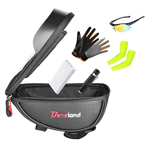 Bike Bag, Waterproof Touch Screen Bicycle Handbar Front Phone Frame Bag Holder For iPhone 8 7 Plus 6s 6 plus 5s 5 / Samsung Galaxy s7 s6 note 7 Cellphone Below 6.0 Inch With Sun Visor by Beneland (Image #4)