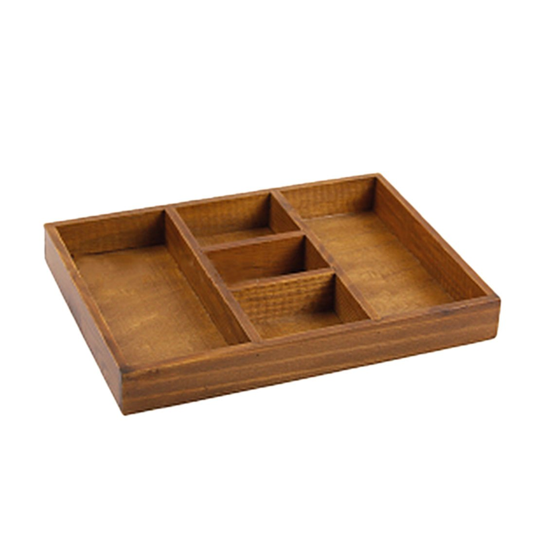 haoun 1 x Retro Storage Box Wood Desktop Organizer Tray [5-compartment]