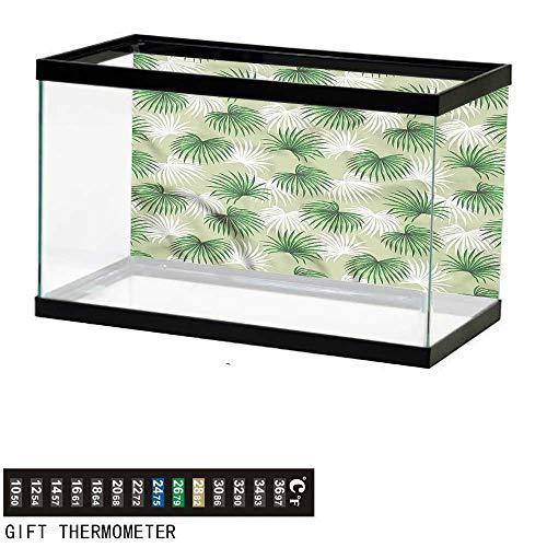 bybyhome Fish Tank Backdrop Leaf,Palm Tree Island Foliage,Aquarium Background,48