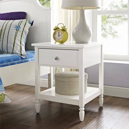 Better Homes and Gardens Lillian Nightstand, White | Convenient drawer providing sizeable storage space from Better Homes and Gardens