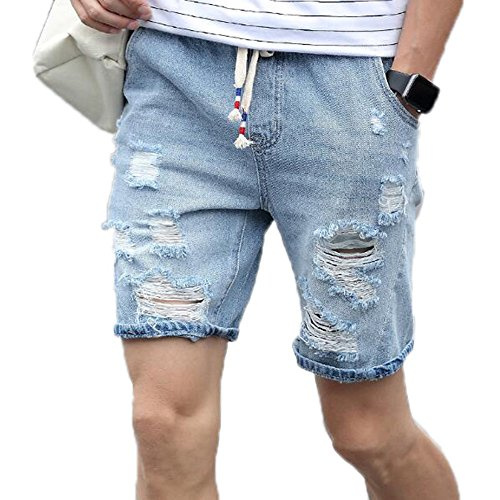 (Mens Ripped Short Jeans Summer Cotton Shorts Tearing Denim Shorts Male Blue 33)