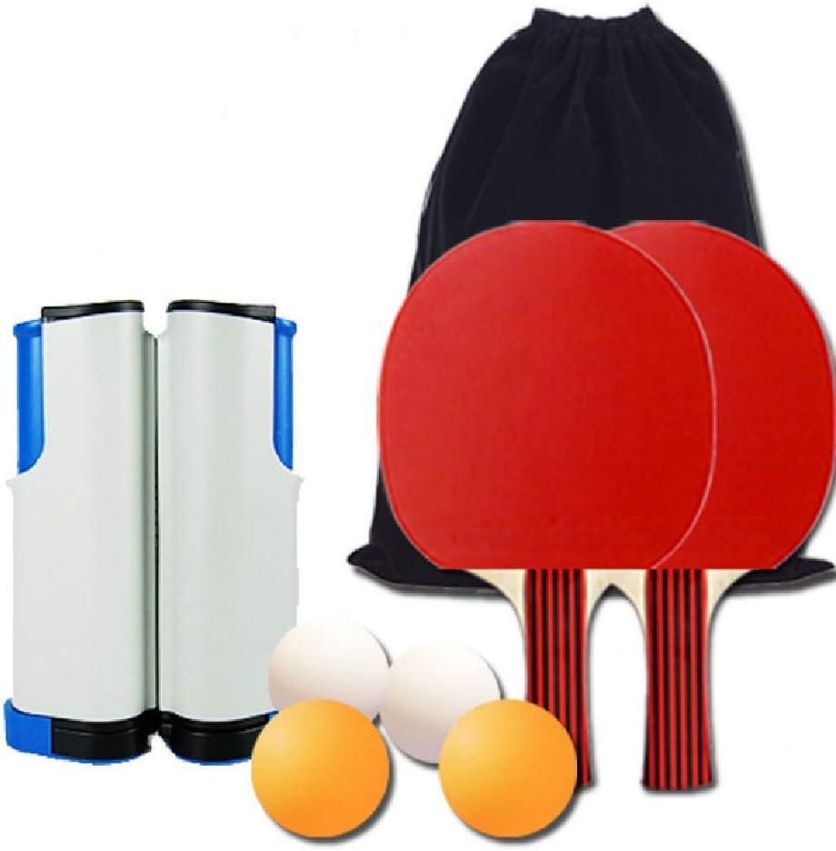 FTNJG Portátil Conjunto de Pingpong Set Duradero Red de Tenis de Mesa retráctil con 4 Bolas 2 Raquetas Bolsa De Almacenamiento Equipo De Gimnasio En Casa Deportes Ejercer