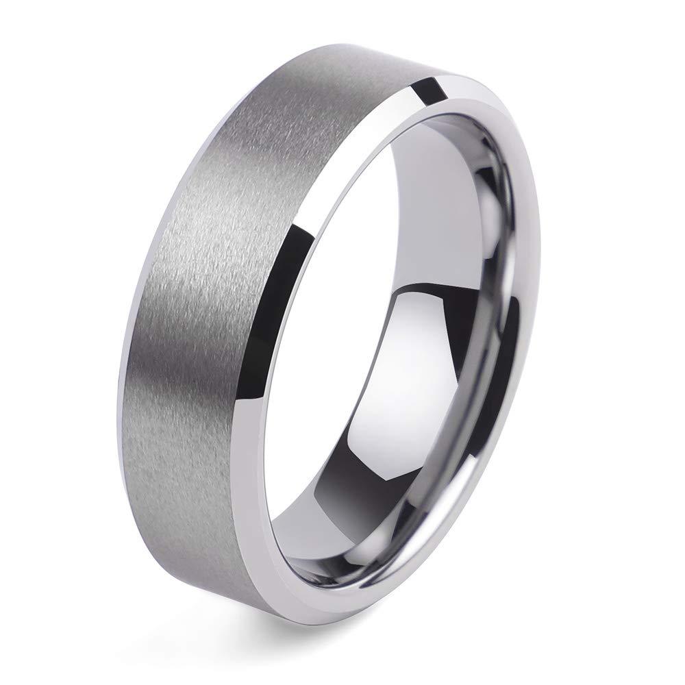2People Men's 8mm Silver Tungsten Carbide Ring Matte Bevel Scrub Polished Comfort Fit Engagement Wedding Ring (11.5)