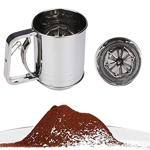 FTXJ Stainless Steel Cup Flour Sifter Baking Icing Sugar Powder Strainer