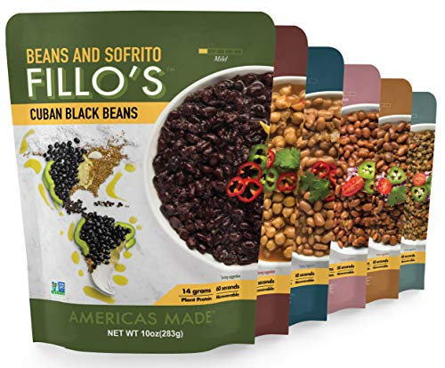 FILLO'S Variety Pack, Sofrito Beans, 6 Count, Cuban Black Beans, Tex Mex Pinto, Puerto Rican Pink Beans, Mexican Mayocoba Beans, Peruvian Lentils, Panamanian Garbanzos, Non-GMO, Vegan, Plant Protein (Best Canned Beans To Eat)