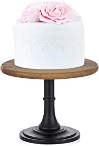 8 inches/21cm Rustic Cake Stand Wood Cake Dessert Stand with Black Matt Base, Round Cupcake Holder, Wedding Birthday Party Pedestal Display Plate