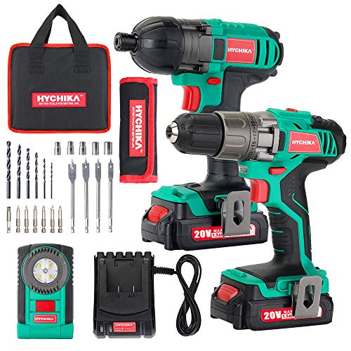 Cordless Drill Driver 18V 35Nm and Impact Driver, HYCHIKA Drill Combo Kit, 2×1.5Ah Batteries,1H Fast Charging,300/150lm LED Flashlight,22PCS Accessories for Drilling Wood, Metal and Plastic