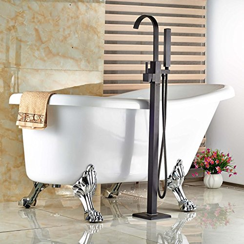 Senlesen Oil Rubbed Bronze Free Standing Single Handle Bathtub Faucet Set Bathroom Tub Filler with Handshower 50%OFF