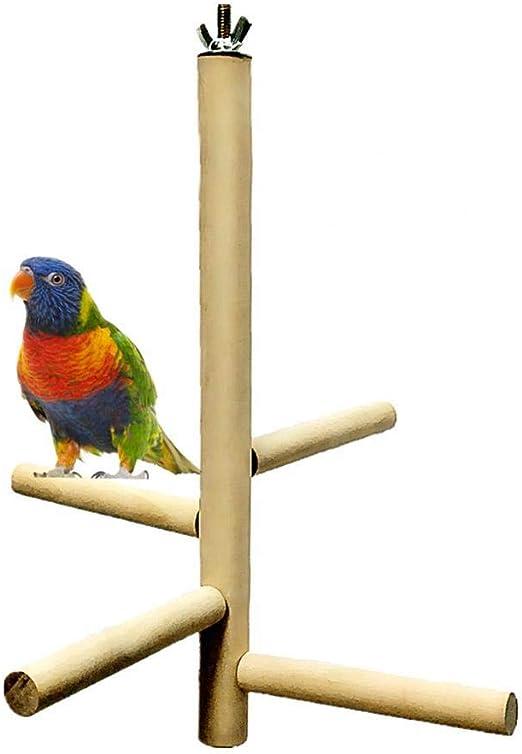 Jaula De Pájaros Soporte De Perca Loro Ramas De Madera Soportes, Accesorios De Jaula De Pájaros Escalera Giratoria Nivel 4 Redondo De Madera Para Loro, Soporte De Jaula Juego Centro De Actividades: