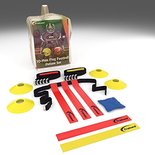 Trained Flag Football 10 Man Set with Carry Bag, Flag Football Playbook (eBook) and Accessories (46 Pieces)