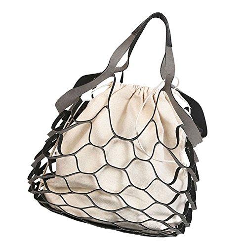 Canvas Handbag Fashion M Women Net Black amp;A Fishing for xTRxwqHOI