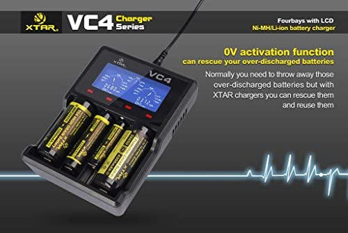 XTAR VC4 Digitales Ladeger/ät mit 4 NL1835HP Akkus 2 Eco-Sensa Akkuh/üllen