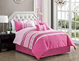 Modern 7 Piece Bedding HOT PINK, LIGHT PINK, GREY Pin Tuck and Embroidered Embossed QUEEN Comforter Set with accent pillows Review