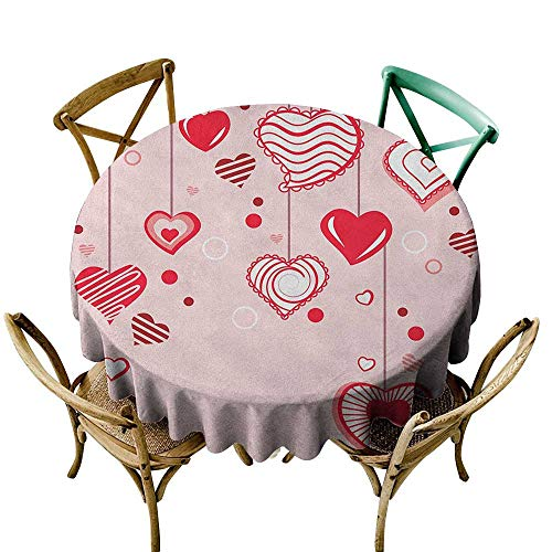 Wendell Joshua Yellow Tablecloth 36 inch Love,Contour Hearts Hanging on Strings Romantic Anniversary Valentine`s Day Happy Print, Rose Red Pink Suitable for Indoor Outdoor Round Tables -