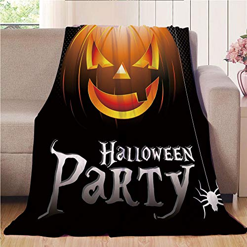 Throw Blanket Super soft and Cozy Fleece Blanket Perfect for Couch Sofa or bed,Halloween,Halloween Party Theme Scary Pumpkin on Abstract Modern Backdrop Spider Decorative,Silver Black Orange,47.25