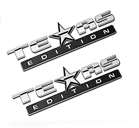 Chromed TEXAS EDITION Chromed Emblem Badge Decal Sticker Back for Chevy Silverado and GMC Sierra Car Styles Accessories - Fender Replacement Speaker