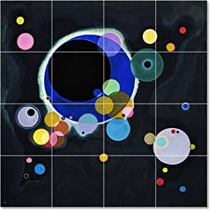 Wassily Kandinsky Abstract Tile Mural House Renovate Design. 24x24 Inches Using (16) 6x6 ceramic tiles.