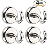 Netany 90 LB Heavy Duty Magnetic Hooks, Strong Powerful Neodymium Indoor/Outdoor Magnet Hooks
