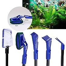 5 in 1 Aquarium Fish Tank Cleaning Set - Fish Net-Gravel Rake-Algae Scraper-Sponge Brush-Plant Fork