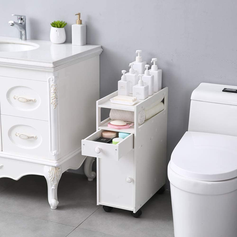 Volowoo Bathroom Narrow Cabinet Shelf,22 x 45 x 63cm Bathroom ...
