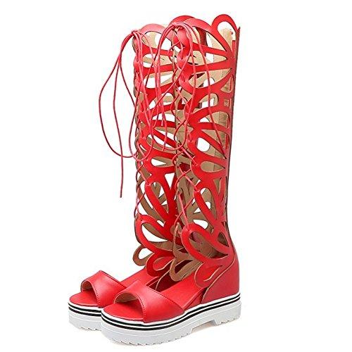 COOLCEPT Damen Mode Schnurung Sandalen Cut Out Sommer Stiefel Peep Toe Keilabsatz Stretch Schuhe Zipper Rot