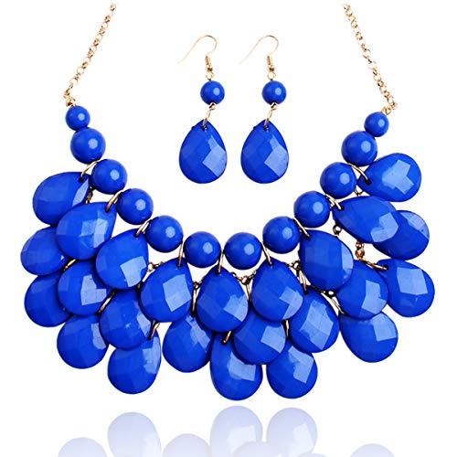 RIAH FASHION Chunky Acrylic Jewel Cluster Floating Bubble Statement Necklace - Teardrop Dangle Layered Bib Collar (Sapphire Blue 2) (Necklace Beaded Set Fashion)