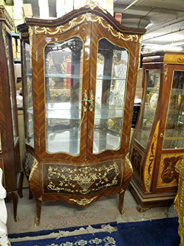 Gorgeous French Style Hand Carved Living Room, China Curio Accent Ormolu Carved Cabinet - 77