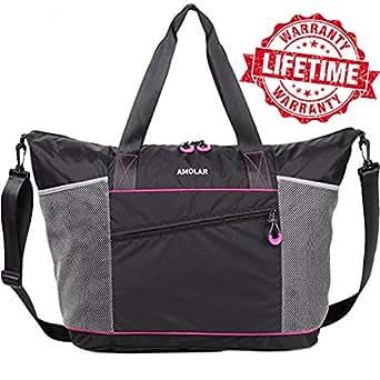gym bag yoga bag gym yoga tote bag for women with roomy pockets gym totes. Black Bedroom Furniture Sets. Home Design Ideas