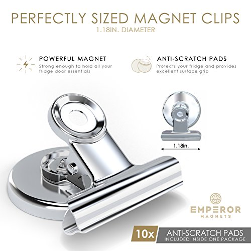 Emperor Magnets - Strong Refrigerator Magnets | Mini Powerful Fridge Magnets | Small Round Kitchen Magnet Hook Clips | Heavy Duty Metal Silver Finish Ideal For Office Whiteboard, Dry Erase Board by Emperor Magnets (Image #1)