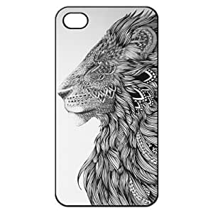 Lion Head Art Hard Back Iphone 4/4s Shell Case Cover Skin for Iphone 4 4g 4s Cases - Black/white/clear by supermalls