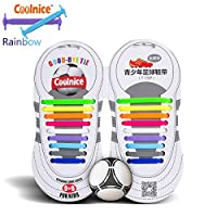 Elastic No Tie Shoelaces by Coolnice® Silicone Shoestrings pair(18pcs) for Teenagers or Kids Outdoor Sports shoe laces for running shoes, training shoe, sneaker