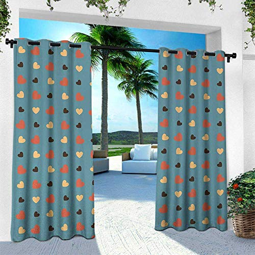 Polka Barley - Blue, Outdoor Curtain for Patio,Outdoor Patio Curtains,Couple Valentines Theme Romantic Love Themed Polka Dots Like Hearts, W84 x L96 Inch, Blue Brown and Vermilion