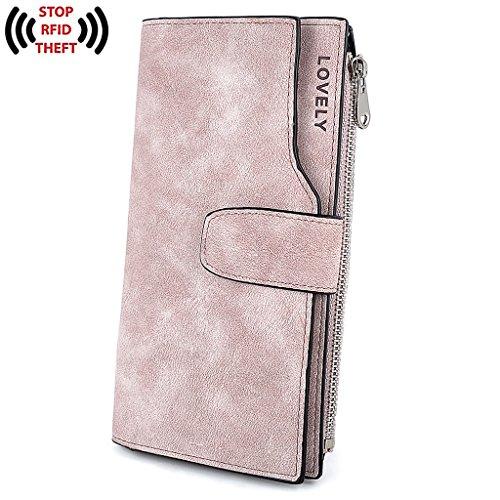 UTO RFID Wallet for Women PU Matte Leather Wallet Card Zipper Phone Holder Organizer Girls Coin Purse