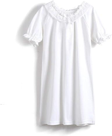 Camisón de Princesa para niñas, Pijama de algodón Victoriano Vintage para Madre e Hija, Pijama de Manga Larga Suave Blanco Blanco 155 cm: Amazon.es: Ropa y accesorios