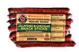 WISCONSIN'S BEST - Protein Meat Snack Sticks - JALAPENO & 100% WISCONSIN CHEDDAR CHEESE (Package of 7) 1 oz Snack Sticks - Hickory Smoked