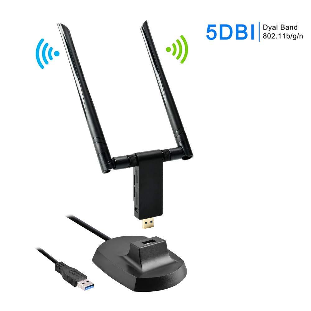 con antena 5 DBI de doble banda Adaptador WiFi de 1900 Mbps 5 GHz 1300 Mbps + 2,4 GHz 600 Mbps USB 3.0 receptor WiFi para PC//escritorio//port/átil FungLam adaptador inal/ámbrico