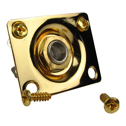 Musiclily 1/4' 6.35mm Rectangular Mono Guitar Output Jack Plate Input Socket for Gibson Les Paul Epiphone Replacement, Gold