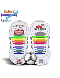 Coolnice® No Tie Shoelaces for Teenagers/Kids Outdoor Sports - Flat Elastic Stretchy Waterproof Silicone Tieless Shoe Laces with Multicolor for Athletic Sneaker Boots Board Running Shoes