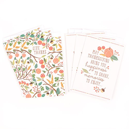 Hallmark Thanksgiving Card Assortment (3 cards each of 2 designs, 6 envelopes Fall Icons)