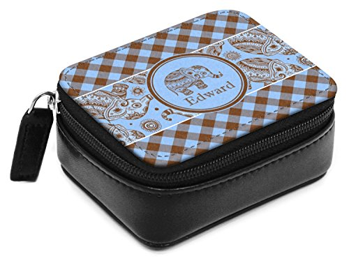 Box Blue Gingham - Gingham & Elephants Small Leatherette Travel Pill Case (Personalized)