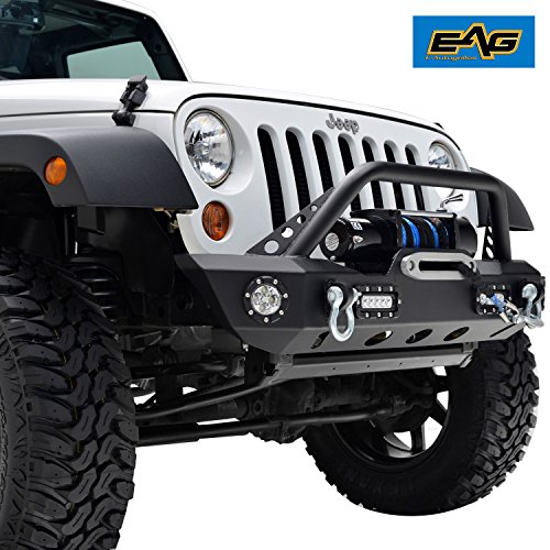 E-Autogrilles Offroad Front Bumper with LED Lights & Winch Plate for 07-17 Jeep Wrangler JK