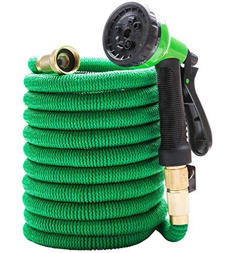 Expandable Garden Hose 100 FT Double Latex Core 8 Functions Pressure Water Spray Nozzle 3/4 Solid Brass Connector Garden Lawn Pet Shower Car Plant Green Watering Hose by Bili Life