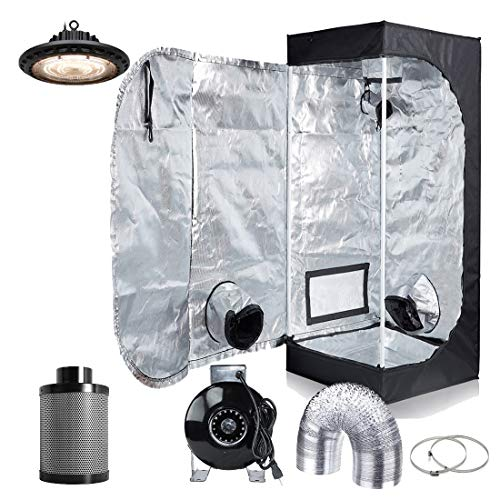 (Hydro Plus 300W Full Spectrum UFO LED Light + 16''x16''x48'' Grow Tent + 4'' Inline Fan Filter Duct Combo Indoor Grow Tent Complete Kit)