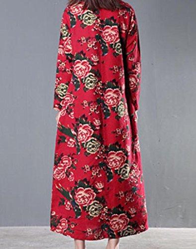 Lunga Coolred Stile Maxi Girocollo Vestito Rosso Stampa Folk Donne Spiaggia Manica RnwfTdqf