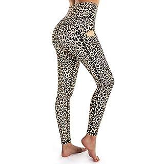 OUGES Womens High Waist Pockets Yoga Pants Running Pants Workout Leopard Leggings (Leopard,L)