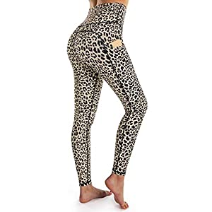 OUGES Womens High Waist Pockets Yoga Pants Running Pants Workout Leggings