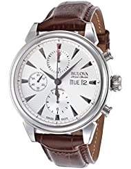 Bulova Accu-Swiss 63C112 Mens Gemini Auto Chrono Brown Genuine Leather Silver-Tone Dial Ss Watch